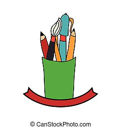 school supplies drawing icon