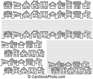 row of a simple house - line drawing -
