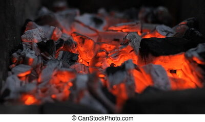 Burning Wooden Barbecue - fire campfire red embers closeup