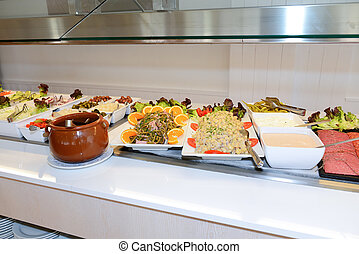 The salads and pasta in restaurant, Mallorca island, Spain