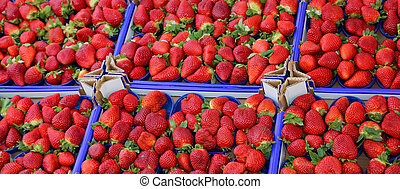 large red ripe strawberries in the box at the greengrocer -...