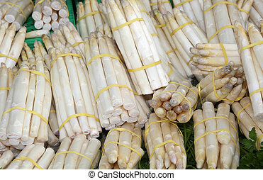 white asparagus for sale in the grocery store - big white...