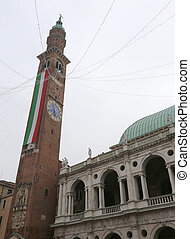 Vicenza Italy Tower on the square of town and a italian flag...
