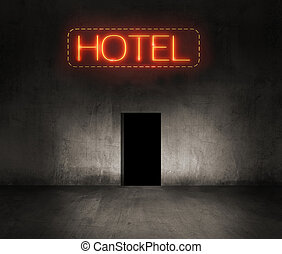 hotel neon sign in the night