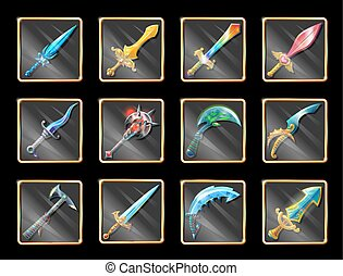 Colorful Cartoon Medieval Weapons Collection