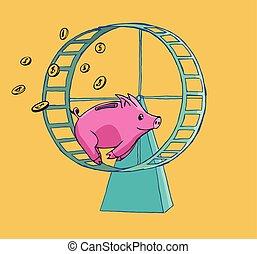 Piggy bank running on a Hamster wheel