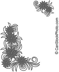 Floral stencils over white - Stylized floral stencils...