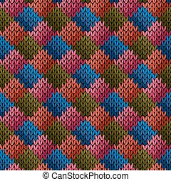 Multicolor seamless knitted pattern - Knitted multicolor...