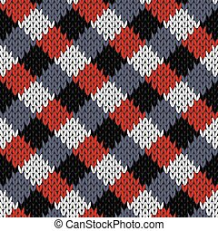 Seamless knitted quadratic pattern - Knitted seamless vector...