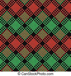 Seamless knitted pattern in black, green and red colors -...