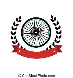 bicycle wheel emblem icon vector illustration design