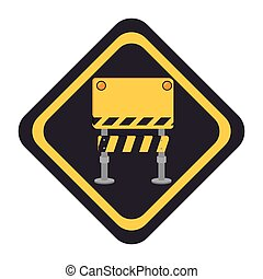 construction barrier sign icon vector illustration design