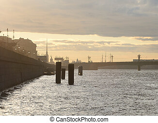 Neva river at sunset. - Neva river at sunset in center of...