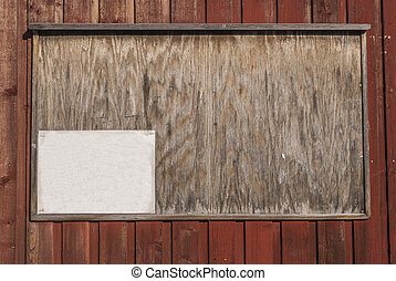 Pinboard on wooden wall