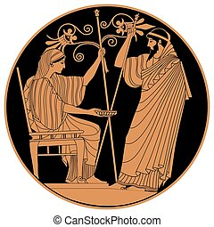 Vector Greek drawing. - Greek woman holds a cup in his hands...