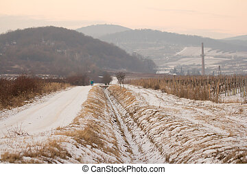 snow covered path in winter countryside with mountains in background