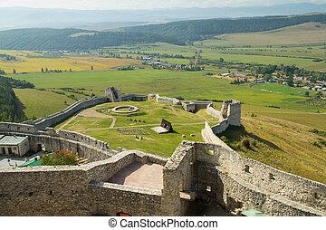medieval castle ruins aerial view
