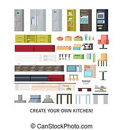 Modern Kitchen Interior Objects Set