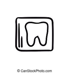 X-ray of tooth sketch icon. - X-ray of toot vector sketch...