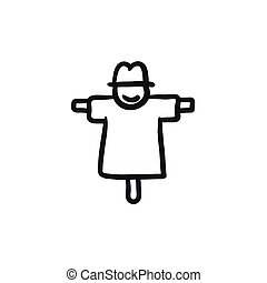 Scarecrow sketch icon. - Scarecrow vector sketch icon...
