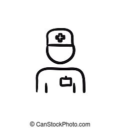 Nurse sketch icon. - Nurse vector sketch icon isolated on...