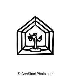 Greenhouse sketch icon. - Greenhouse vector sketch icon...
