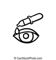 Pipette and eye sketch icon. - Pipette and eye vector sketch...
