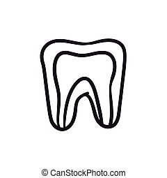 Molar tooth sketch icon.