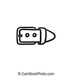Belt buckle sketch icon. - Belt buckle sketch icon for web,...