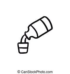 Medicine and measuring cup sketch icon. - Medicine and...