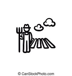 Farmer with pitchfork at field sketch icon. - Farmer with...