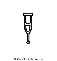 Crutch sketch icon. - Crutch vector sketch icon isolated on...