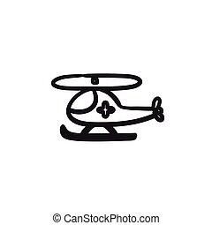 Air ambulance sketch icon. - Air ambulance vector sketch...