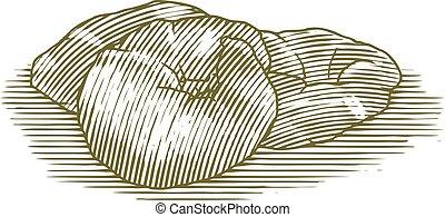 Woodcut Croissant