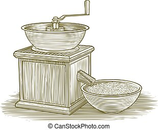 Woodcut Grinder - Woodcut illustration of an old flour...
