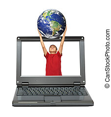 laptop with boy holding earth planet - small laptop with boy...
