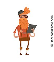creative hipster character business design studio designer job art-director accounter boss leader isolated character vector illustration