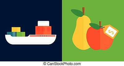 Ship cargo sea transportation and fruits delivery vector illustration.