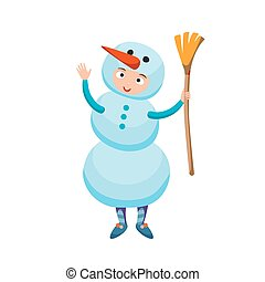 Cute kid wearing Christmas snowman costume vector. Little...