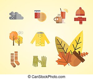 collection of autumn clothes set items the fall acorn leaves...