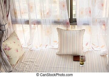Bay window decorated interior