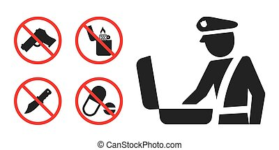 Customs control area sign and prohibition icons - Customs...