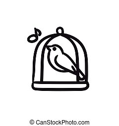 Bird singing in cage sketch icon. - Bird singing in cage...