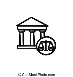 Court sketch icon. - Court vector sketch icon isolated on...