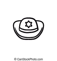 Sheriff hat sketch icon. - Sheriff hat vector sketch icon...