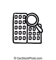 Condominium and magnifying glass sketch icon. - Condominium...