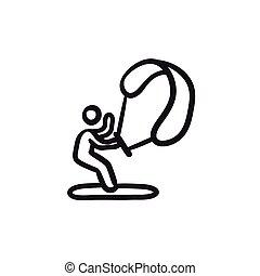 Kite surfing sketch icon. - Kite surfing vector sketch icon...