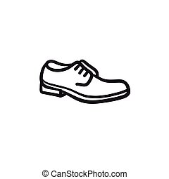 Shoe with shoelaces sketch icon. - Shoe with shoelaces...