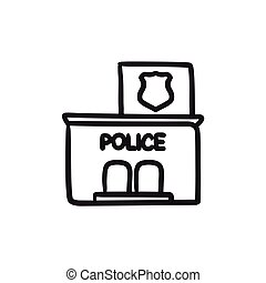 Police station sketch icon. - Police station vector sketch...