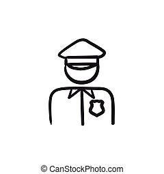 Policeman sketch icon. - Policeman vector sketch icon...